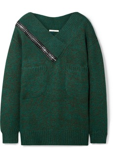 Christopher Kane Oversized Cutout Crystal-embellished Knitted Sweater