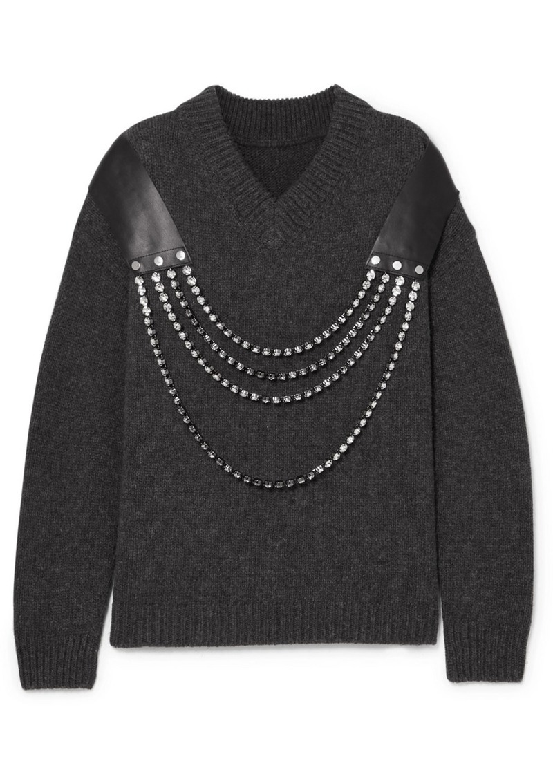 Christopher Kane Oversized Embellished Leather-trimmed Wool Sweater