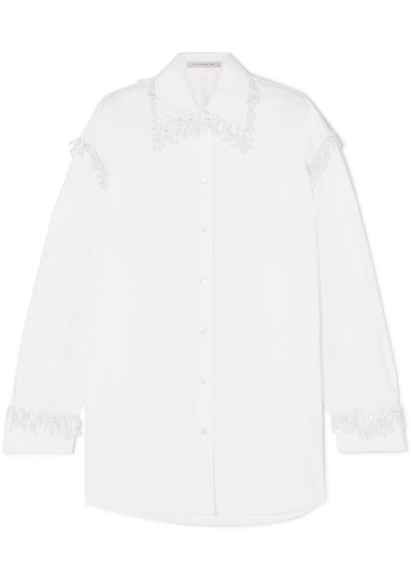 Christopher Kane Oversized Faux Pearl-embellished Cotton-poplin Shirt