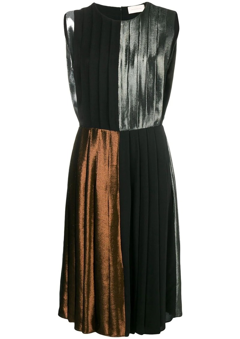 Christopher Kane panelled pleated lamé dress