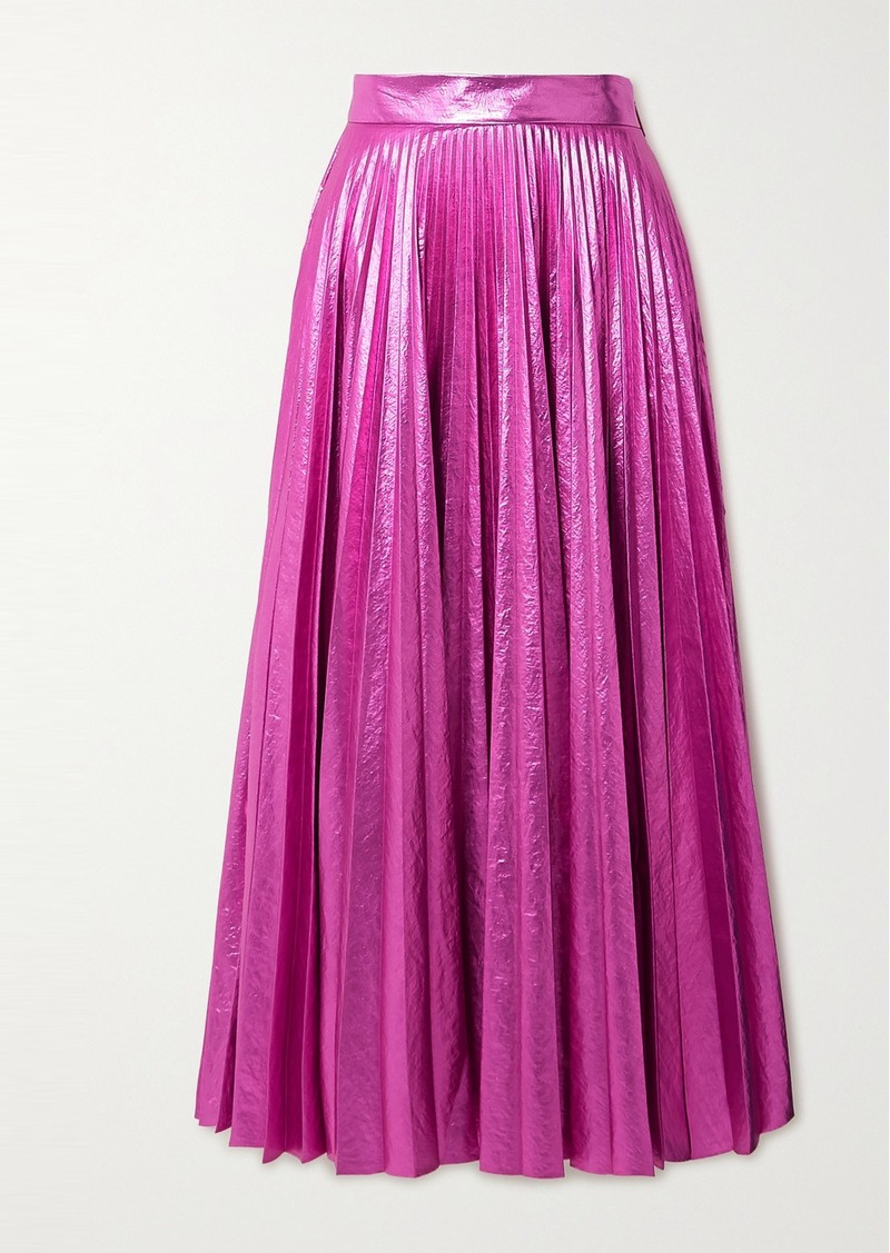 Christopher Kane Pleated Crinkled-lamé Maxi Skirt