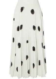 Christopher Kane Pleated Printed Crepe De Chine Midi Skirt