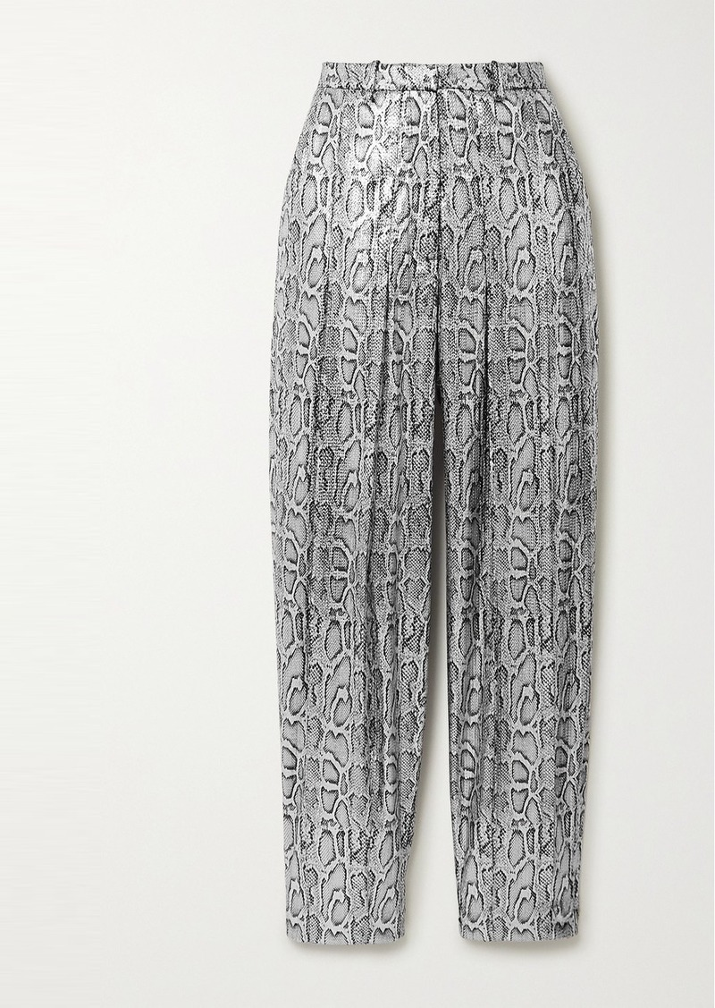 Christopher Kane Pleated Sequin-embellished Snake-effect Faux Leather Tapered Pants