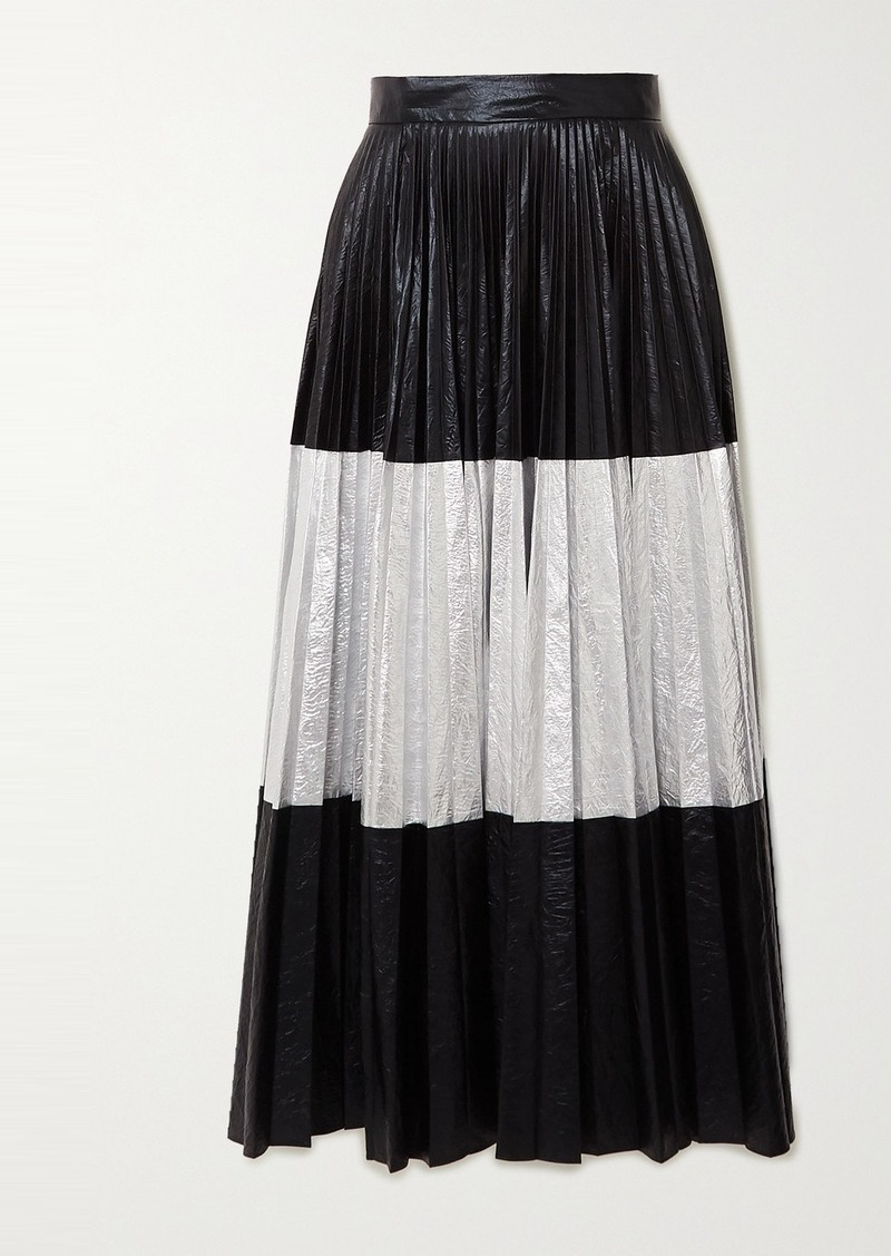 Christopher Kane Pleated Two-tone Crinkled-lamé Maxi Skirt