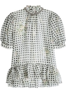 Christopher Kane Printed Silk Blouse with Chain Embellishment