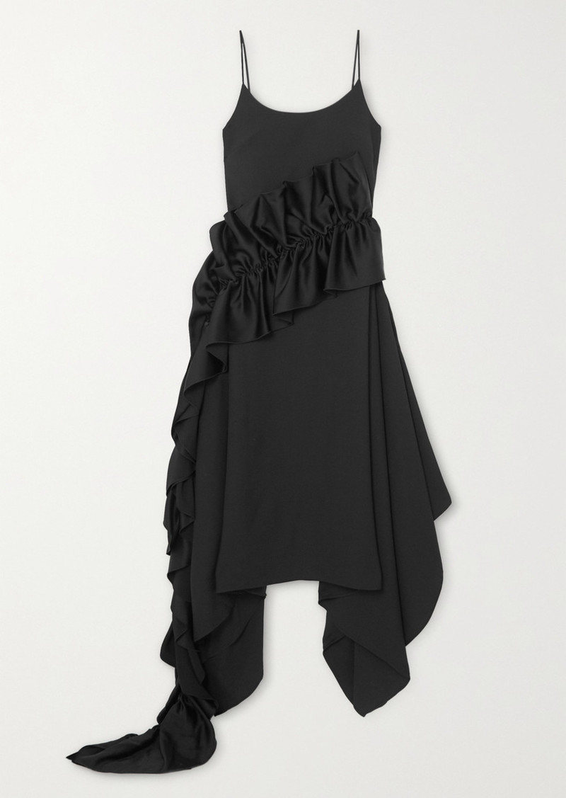 Christopher Kane Ruffled Satin-trimmed Crepe Dress