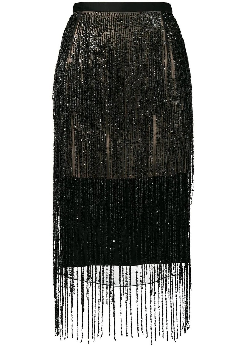 Christopher Kane satin fringe skirt
