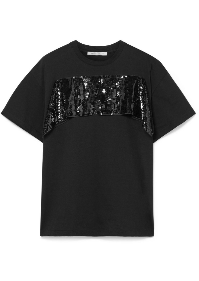 Christopher Kane Sequined Tulle-trimmed Cotton-jersey T-shirt