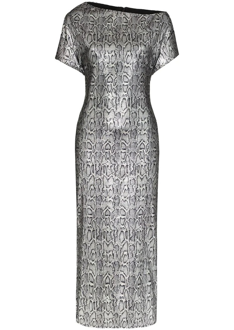 Christopher Kane snake print fitted midi dress