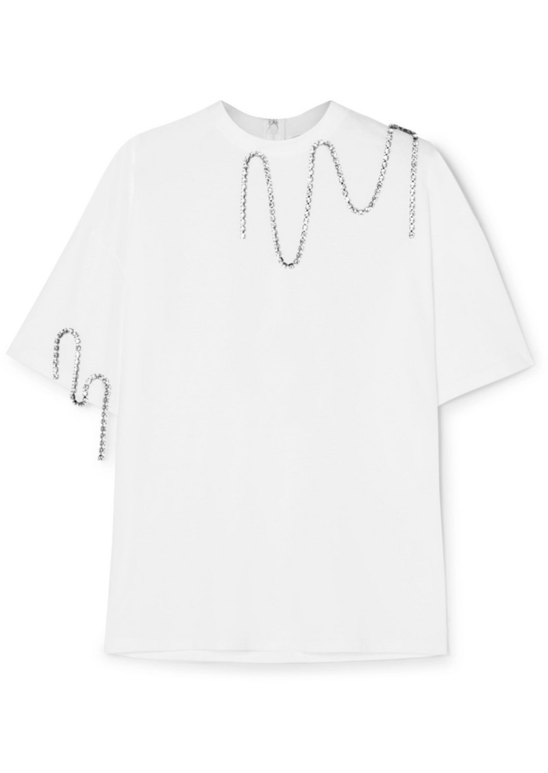 Christopher Kane Squiggle Crystal-embellished Cotton-jersey T-shirt