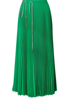 Christopher Kane Squiggle Crystal-embellished Pleated Crepe De Chine Midi Skirt