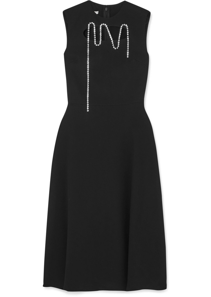 Christopher Kane Squiggle Cupchain Embellished Cutout Crepe Midi Dress