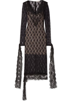 Christopher Kane Tie-detailed Stretch-chantilly Lace Midi Dress