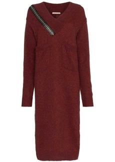 Christopher Kane V neck zip shoulder wool mohair blend dress