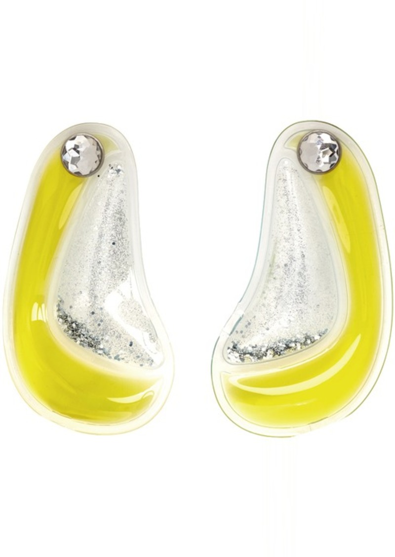 Christopher Kane Yellow Double Curve Shape Earrings