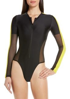 Chromat Una Long Sleeve One-Piece Swimsuit