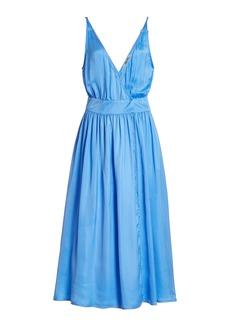 Ciao Lucia - Women's Hydra Satin Midi Dress - Blue/white - Moda Operandi