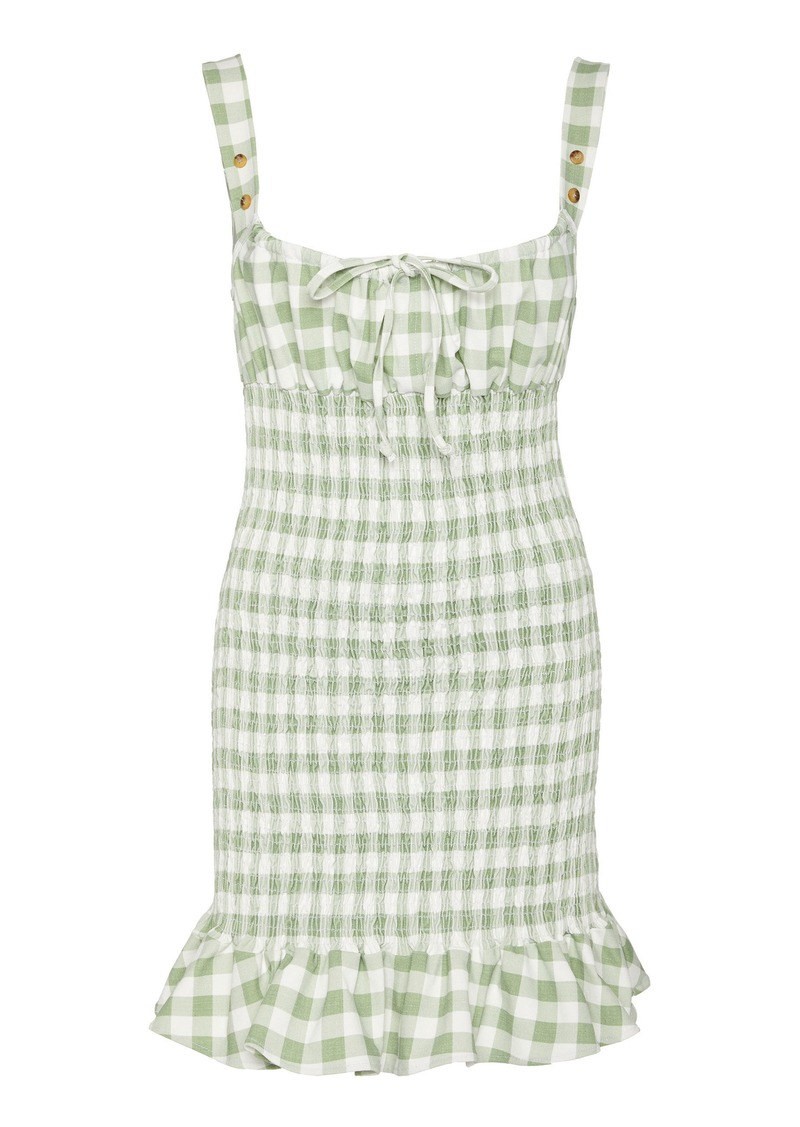 Ciao Lucia Cara Gingham Shirred Poplin Mini Dress