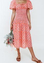 Ciao Lucia Chiara Printed Smocked Midi Dress