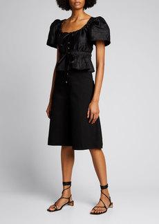 Ciao Lucia Ezio Silk Puff-Sleeve Top in Black