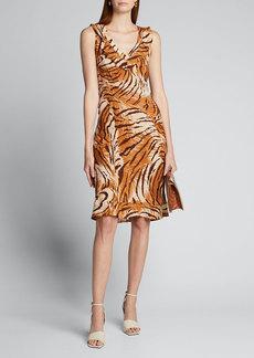 Ciao Lucia Fredrica Tiger-Print Georgette V-Neck Dress