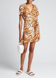 Ciao Lucia Zia Tiger-Print Wrap Dress