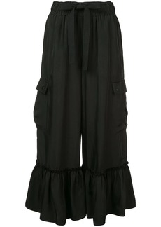 Cinq a Sept cropped ruffle hem trousers