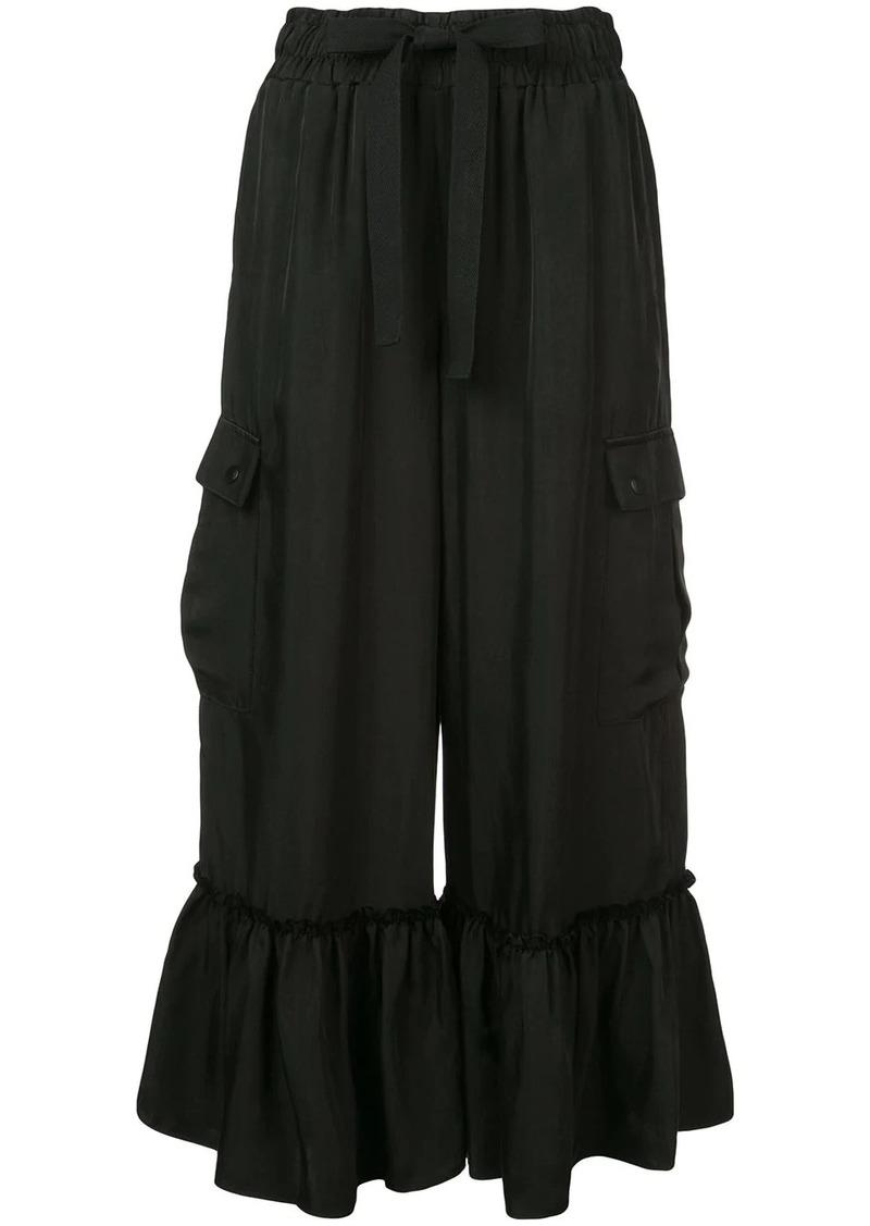 Cinq a Sept cropped ruffle hem trousers