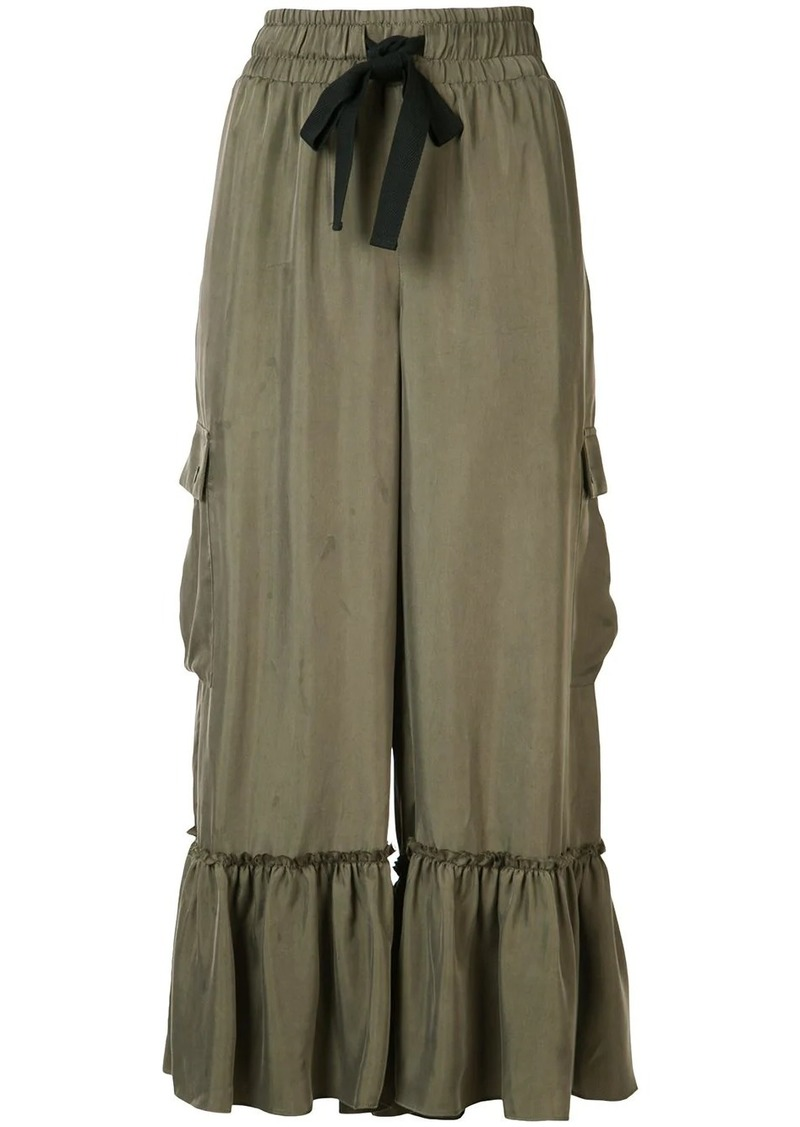 Cinq a Sept ruffled cropped trousers