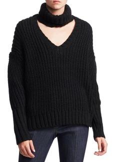 Cinq a Sept Adia Choker Chunky Knit Sweater