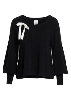 Cinq a Sept Amelia Balloon-Sleeve Ribbon Cashmere Sweater