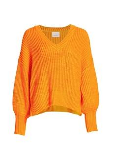 Cinq a Sept Antonella Knit Puff-Sleeve Sweater