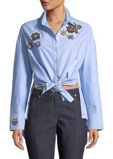 Cinq a Sept Arleigh Embroidered Button-Front Top