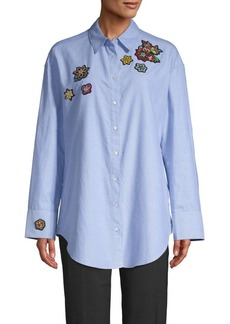 Cinq a Sept Arleigh Oversized Beaded Patch Shirt