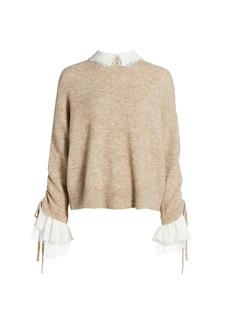 Cinq a Sept Atlas Bell-Sleeve Collared Sweater