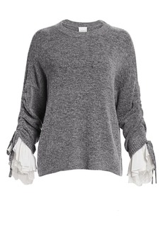 Cinq a Sept Atlas Lace-Up Bishop-Sleeve Sweater