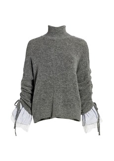 Cinq a Sept Atlas Bell-Sleeve Turtleneck Sweater