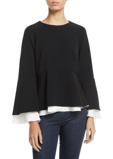 Cinq a Sept Avalon Crepe Long-Sleeve Layered Top