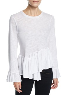 Cinq a Sept Aziza Bell-Sleeve Asymmetrical Cotton Top
