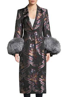 Cinq a Sept Blanche Floral Coat w/ Fox Fur Cuffs