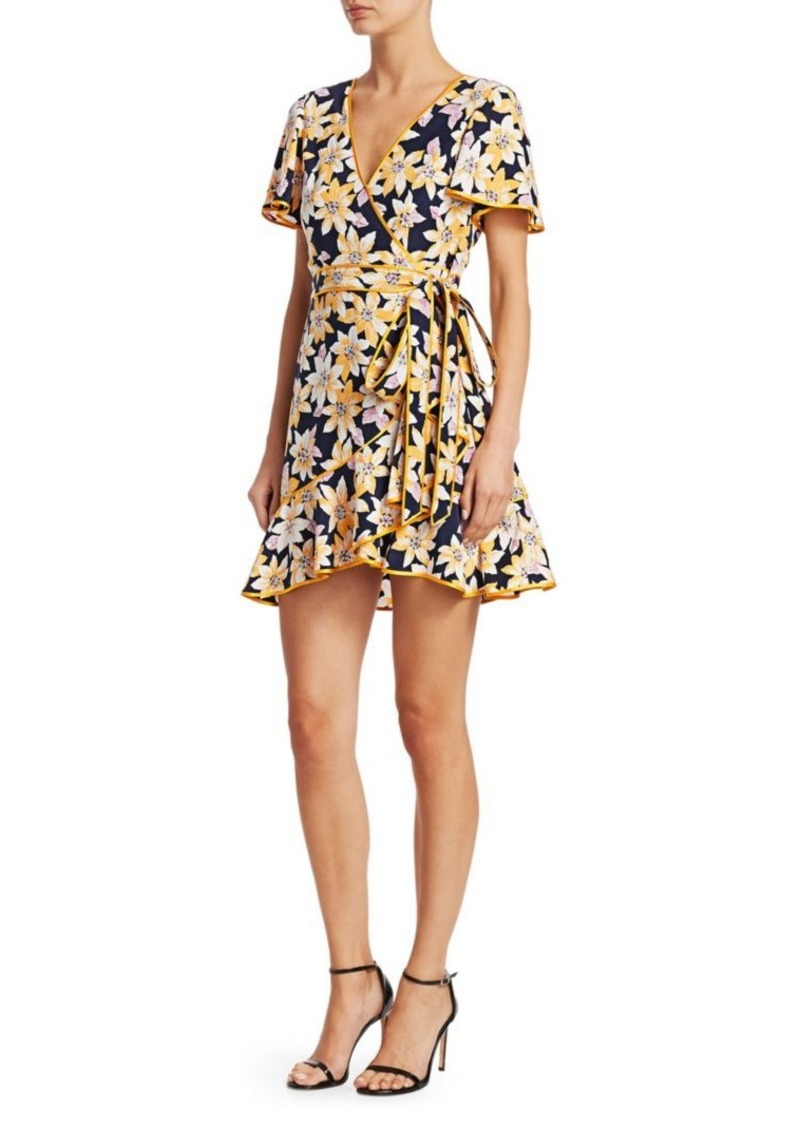 Cinq a Sept Cameron Silk Floral Wrap Dress