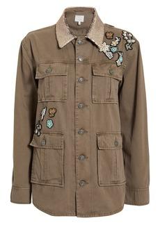 Cinq a Sept Canyon Patch Sequin Collar Cargo Jacket