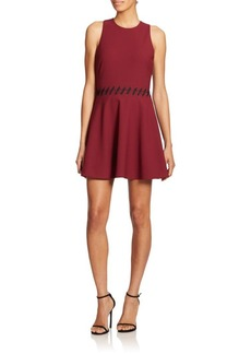 Cinq a Sept Carter Lace-Up Fit-And-Flare Dress