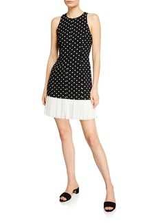 Cinq a Sept Catriona Dotted Crepe Dress w/ Pleated Hem