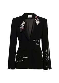 Cinq a Sept Cheyenne Embroidered Brooch Blazer Jacket