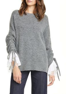 Cinq a Sept Cinq à Sept Atlas Lace Cuff Wool Blend Sweater