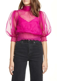Cinq a Sept Cinq à Sept Cleo Puff Sleeve Silk Crop Top