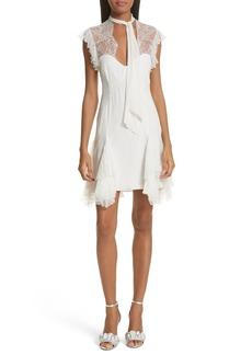 Cinq a Sept Cinq à Sept Clotilde Lace Trim Silk Dress with Scarf