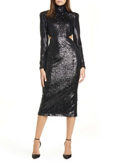 Cinq a Sept Cinq à Sept Daniela Cutout Long Sleeve Sequin Dress