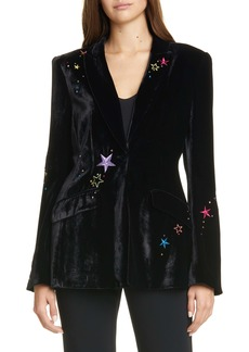 Cinq a Sept Cinq à Sept Estelle Embroidered Velvet Blazer